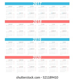 Simple calendar for 4 years 2017 2018 2019 2020. Week starts from Monday.