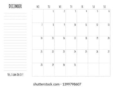 December 2020 Calendar With Phrases Vectores, imágenes y arte vectorial de stock sobre 2020 Motivation