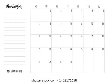 December 2020 Study Monthly Calendar Vectores, imágenes y arte vectorial de stock sobre 2020 Motivation