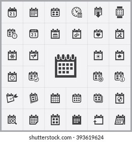Simple calendar icons set. Universal calendar icons to use for web and mobile UI, set of basic calendar elements