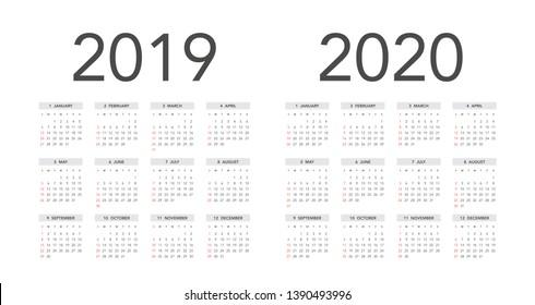 Calendario 2019 Con Numero Week.2019 Calendar Stock Illustrations Images Vectors