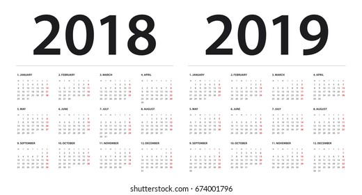 Simple calendar Layout for 2018 and 2019 years. Week starts from Monday.