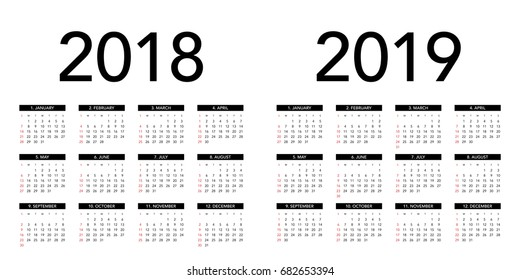 Simple calendar Layout for 2018 and 2019 years. Week starts from Sunday.