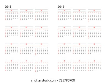 simple calendar layout for 2018 and 2019 years week starts from sunday