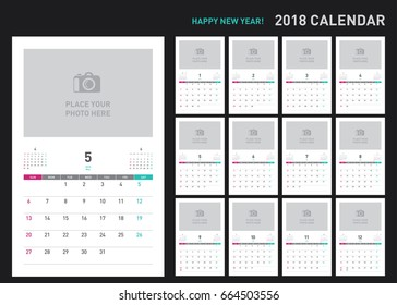 Simple calendar Layout for 2018 years. Week starts from Sunday.