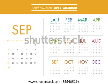 simple calendar layout for 2018 years week starts from sunday