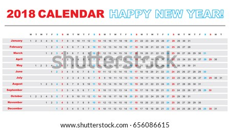 simple calendar layout 2018 years one stock vector royalty free