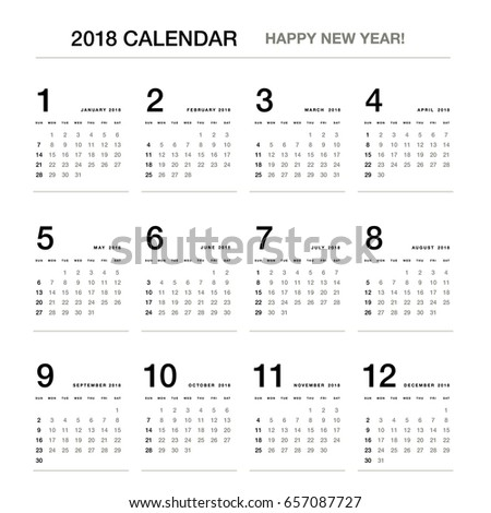 simple calendar layout for 2018 years one page calendar