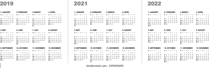 Simple calendar Layout for 2019, 2021 and 2022 years. Week starts from Sunday.