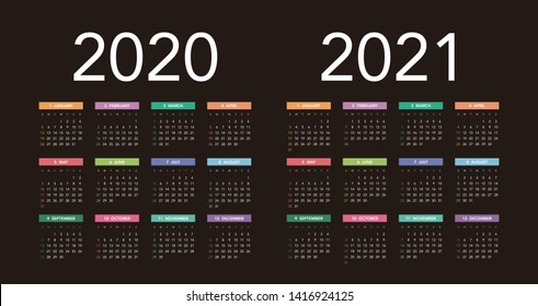 Simple calendar Layout for 2020 and 2021 years. Week starts from Sunday.