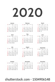 Simple calendar layout for 2020 years. Week starts from Sunday. Calendar design in black and white colors, holidays in red colors. Vector illustrations
