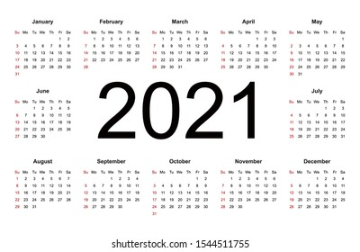Simple calendar Layout for 2021 year. Week starts from Sunday. Isolated vector illustration on white background.