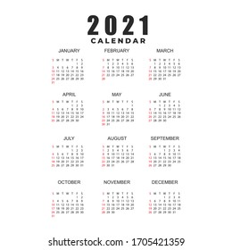Simple calendar Layout for 2021 years. Week starts from Sunday. Vector illustration EPS10