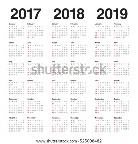 simple calendar template for 2017 2018 and 2019
