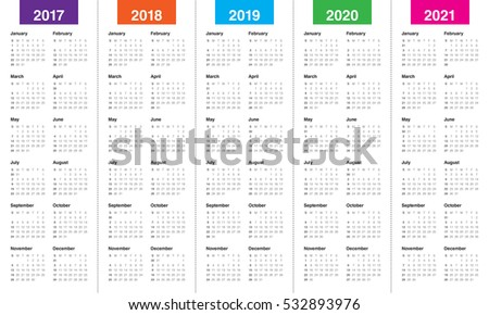 Simple Calendar Template 2017 2018 2019 Stock Vector Royalty Free