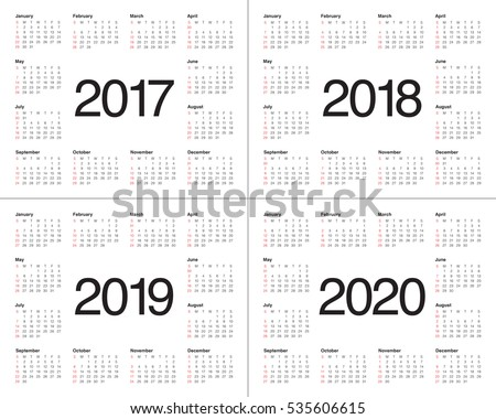 simple calendar template 2017 2018 2019 のベクター画像素材