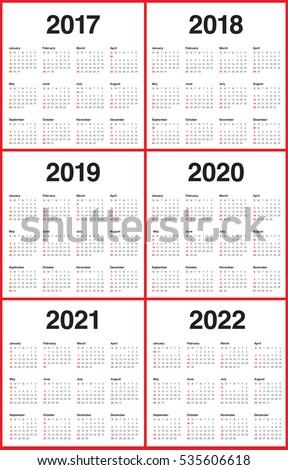 Simple Calendar Template 2017 2018 2019 Stock Vector Royalty Free