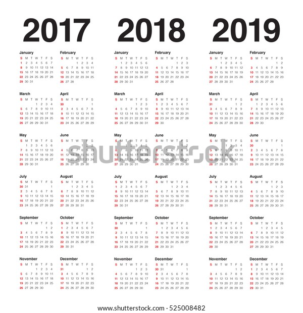 Simple Calendar Template 2017 2018 2019 Stock Vector (Royalty Free