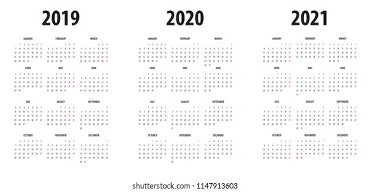 Simple Calendar template for 2018, 2019 and 2020 on White Background. Week starts from Sunday.