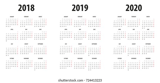 Calendrier Free 2019.Calendrier 2019 2020 Stock Vectors Images Vector Art