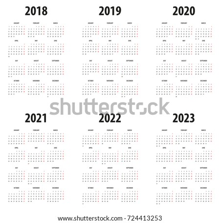 Simple Calendar Template 2018 2019 2020 Stock Vector Royalty Free