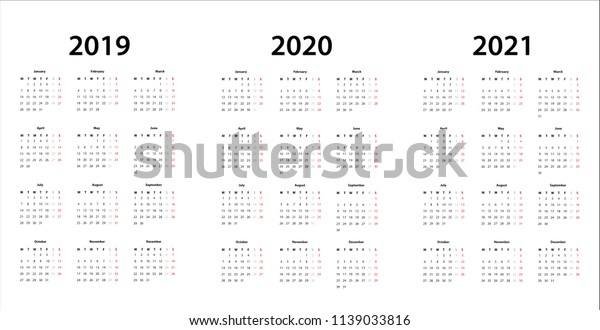Simple Calendar Template 2019 2020 2021 Stock Vector