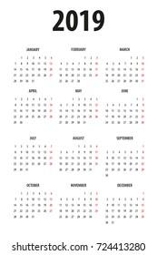 Simple Line Calendar Template 2019 On Stock Vector Royalty Free
