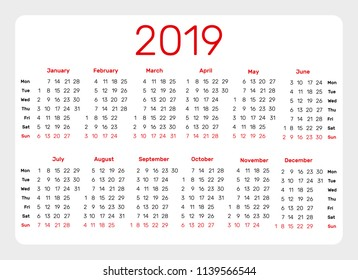 Simple Calendar template for 2019 year on white background. Week starts from monday.