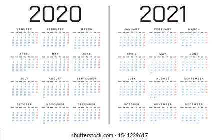 Simple Calendar template for 2020 and 2021 year. Vector illustration.