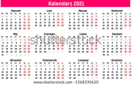 2020 Annual Calendar.Simple Calendar Template 2020 2021 Flat Stock Vector Royalty Free