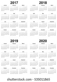Simple Calendar Template  Vector 2017 2018 2019 2020