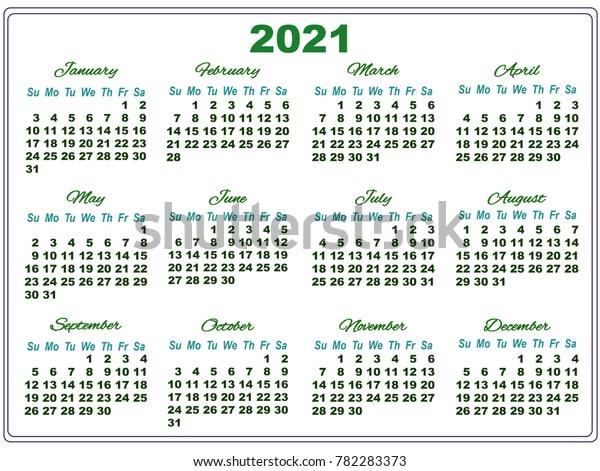 Temple Calendar 2020 Simple Calendar Temple 2020 Big Green Stock Vector (Royalty Free