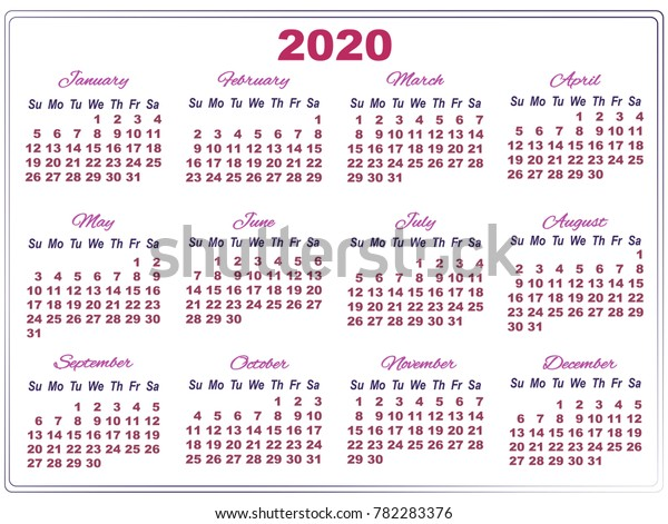 Temple Calendar 2020 Simple Calendar Temple 2020 Big Purple Stock Vector (Royalty Free