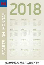 Simple Calendar for year 2018, in vector format. In English. Week starts on Monday.