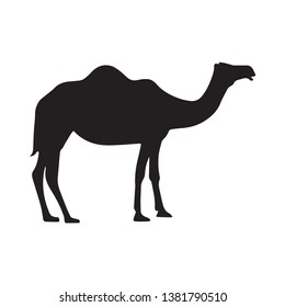 simple camel silhouette vector in black and white illustration