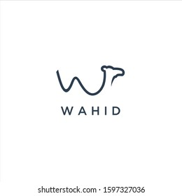 A simple camel vector sign, typography of the letter W forms a camel