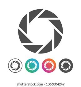 Simple Camera Shutter Icon Symbol Design Set