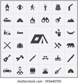 Simple camping icons set. Universal camping icons to use for web and mobile UI, set of basic UI camping elements