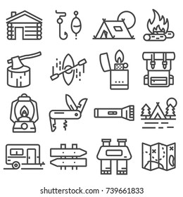 Simple camping icons set. Vector liner style illustrations