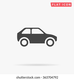 Simple Car Icon Vector. Flat Hatchback symbol. Perfect Black pictogram illustration on white background.