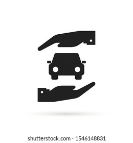simple car insurance icon with arm. flat trend modern minimal logotype graphic art design isolated on white background. concept of front view auto or new automobile belay or product ownership
