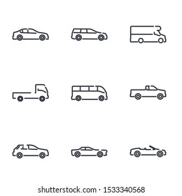 simple car set icon template color editable. car pack symbol vector sign isolated on white background illustration for graphic and web design.