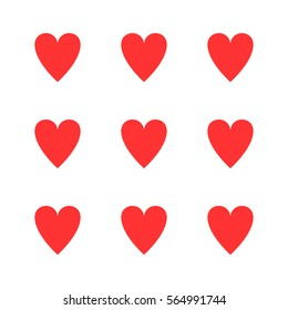 Simple card in a minimalist style. The symbol of the heart. Vector pattern. Nine large red hearts on a white background.