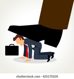 Simple cartoon of a businessman being crushed by giant feet