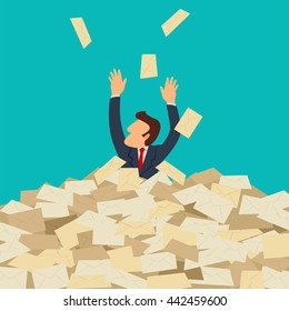 Simple cartoon of businessman buried in letters, spam, message, email, junk mail concept