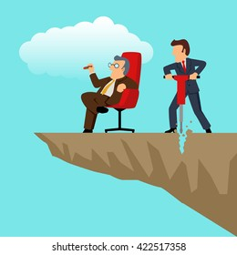 Simple cartoon of a businessman with drilling machine trying to drill the edge of rock to make his boss fall. Sabotage, competition concept