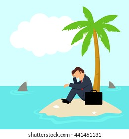 Simple cartoon of a businessman get stuck on island with water full of shark, business, financial crisis, frustration, cast away concept