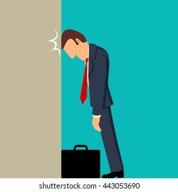 Simple cartoon of businessman knocking his head against wall, business failure, stupid mistake, regret concept