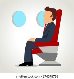 Simple cartoon of a businessman on a airplane