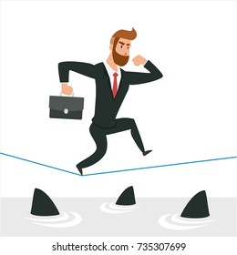 Simple cartoon of a businessman running on rope with sharks underneath. Business risk, chance, opportunity concept,  Illustration Vector Template